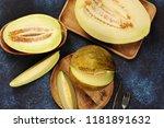 different varieties of melon ... | Shutterstock . vector #1181891632