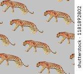 seamless pattern leopard... | Shutterstock . vector #1181892802