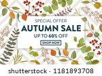 autumn sale banner with... | Shutterstock .eps vector #1181893708