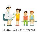children vaccination concept.... | Shutterstock .eps vector #1181897248