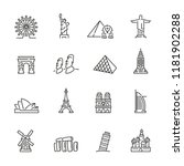 landmarks related icons  thin... | Shutterstock .eps vector #1181902288
