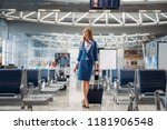 stewardess with hand luggage... | Shutterstock . vector #1181906548