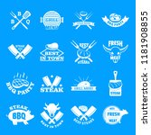 steak logo grilled beef icons... | Shutterstock .eps vector #1181908855
