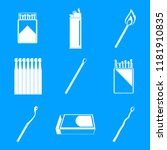 safety match ignite burn icons... | Shutterstock .eps vector #1181910835