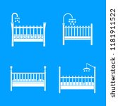 baby crib cradle bed icons set. ... | Shutterstock .eps vector #1181911522