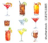 alcoholic drinks cocktail set... | Shutterstock . vector #1181911885