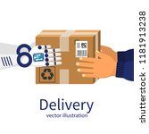 delivery courier. robot give... | Shutterstock .eps vector #1181913238