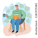young guy seated in an armchair ... | Shutterstock .eps vector #1181925382