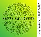 happy halloween card  gradient...   Shutterstock .eps vector #1181936185
