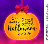 happy halloween card  pumpkin...   Shutterstock .eps vector #1181936188