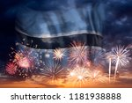holiday sky with fireworks and...   Shutterstock . vector #1181938888