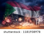 holiday sky with fireworks and... | Shutterstock . vector #1181938978