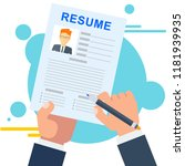resume of potential employee.... | Shutterstock .eps vector #1181939935