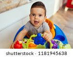cute little boy playing with... | Shutterstock . vector #1181945638