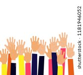 isolated up hands holding... | Shutterstock .eps vector #1181946052