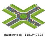 urban area with an intersection ... | Shutterstock .eps vector #1181947828