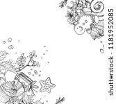 christmas decor  plants line... | Shutterstock .eps vector #1181952085