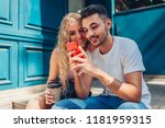 mixed race couple in love... | Shutterstock . vector #1181959315