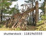 primitive  rustic shelter in... | Shutterstock . vector #1181965555