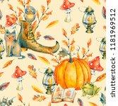 watercolor halloween seamless... | Shutterstock . vector #1181969512