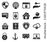 secure icons. black flat design.... | Shutterstock .eps vector #1181973418
