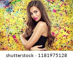 beautiful model girl with long... | Shutterstock . vector #1181975128