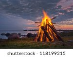bonfire in a white summer night | Shutterstock . vector #118199215