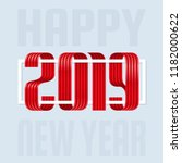 2019 happy new year ribbon... | Shutterstock .eps vector #1182000622