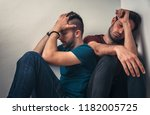 gay couple going through rough... | Shutterstock . vector #1182005725