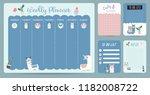 pastel weekly calendar planner... | Shutterstock .eps vector #1182008722