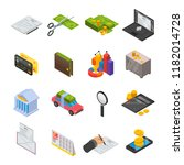 taxes icon set. isometric set...   Shutterstock .eps vector #1182014728