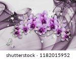 3d wallpaper with purple... | Shutterstock . vector #1182015952