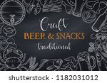 pub food and beer template... | Shutterstock .eps vector #1182031012