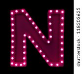 letter n with neon lights... | Shutterstock . vector #118203625