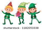 set of happy elfs illustration | Shutterstock .eps vector #1182053338