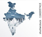 india map concept with india... | Shutterstock .eps vector #1182057415