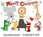 christmas concert at the zoo.... | Shutterstock .eps vector #1182067195