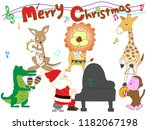 christmas concert at the zoo.... | Shutterstock .eps vector #1182067198