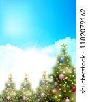 christmas fir tree winter... | Shutterstock .eps vector #1182079162