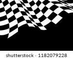 checkered flag wave black white ...   Shutterstock .eps vector #1182079228