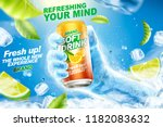 refreshing soft drink ads with... | Shutterstock .eps vector #1182083632