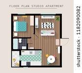 detailed apartment furniture... | Shutterstock .eps vector #1182090082