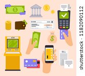 collection of finance workflow... | Shutterstock .eps vector #1182090112