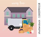 moving truck and cardboard... | Shutterstock .eps vector #1182090118