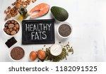 healthy fat source. top view... | Shutterstock . vector #1182091525