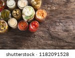 different fermented preserved...   Shutterstock . vector #1182091528