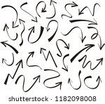 set of arrow hand drawn design...   Shutterstock .eps vector #1182098008