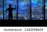 bitcoin with man writing on... | Shutterstock . vector #1182098605