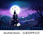 happy halloween poster  spooky  ... | Shutterstock .eps vector #1182099115