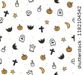 seamless halloween pattern for... | Shutterstock .eps vector #1182104542